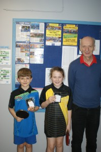 Under 11 Open Event winner and runner up Charles Donald and Evie Knaapen