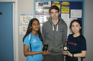 Under 18 Girls Restricted winner Nyree Marsh (left) and runner-up Melinda Abraham Victor (right) with coach Lee Mchugh